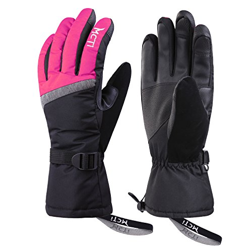 MCTi Ski Gloves,Winter Waterproof Snowboard Snow 3M Thinsulate Warm Touchscreen Cold Weather Women Gloves Wrist Band Rose Red Medium