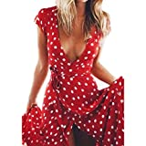 Vovotrade Women's Summer Boho Long Evening Party Cocktail Dress Beach Dress Sundress (M, Red)