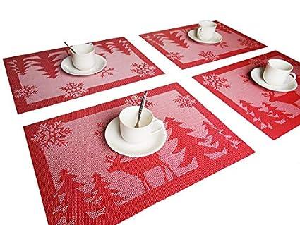 rimobul christmas tree and reindeer woven vinyl placemats set of6 reindeer red