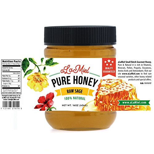 aLaMiel Raw Sage Honey - Made in USA - 100% Natural & Local - Small Batch Domestic Product 1lb (16oz or 454grams) by aLaMiel (Image #1)