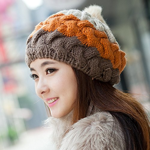 Syksdy Winter Lady Warm Hair Ball Knitted Hat Wool Hat Beret 54-59cm Beige/Orange