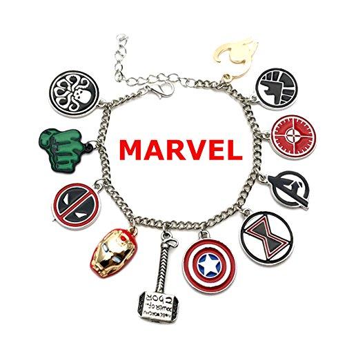 Marvel Comics The AVENGERS (11 Themed Charms) Metal/Enamel Charm Bracelet (Multi Color Enamel Bracelet)