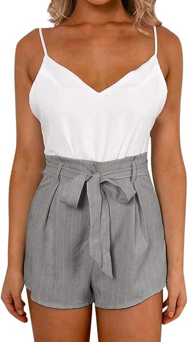 Womens Belt Denim Jumpsuit Summer Casual Slim Fit Romper Mini Playsuit Shorts