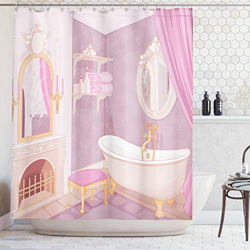 Ambesonne Teen Girls Decor Collection, Fancy Bathroom in The Palace of The Princess with Bathtub Cabinet Mirror Image Print, Polyester Fabric Bathroom Shower Curtain Set with Hooks, Pink Beige
