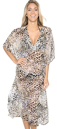 La Leela Animal Skin Printed Sheer Chiffon Long Tube Beach Cover up Beige - Large by LA LEELA