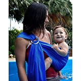 Biubee Water Sling Baby Wrap Carrier - Adjustable Shoulder Ring Mesh Breathable Chest Sling Infant Carrier for Summer Pool Beach Image