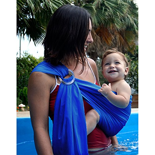 Biubee Water Sling Baby Wrap Carrier - Adjustable Shoulder Ring Mesh Breathable Chest Sling Infant Carrier for Summer Pool Beach ()