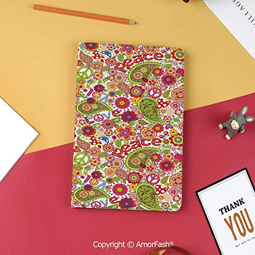 Case for Samsung Tab S3 9.7 SM-T820 SM-T825 Tablet Case Protective Cover Crystal Case,70s Party Decorations,Festive Hippie Childish Composition of Mushrooms Poppies Peace Fun Decorative,Multicolor