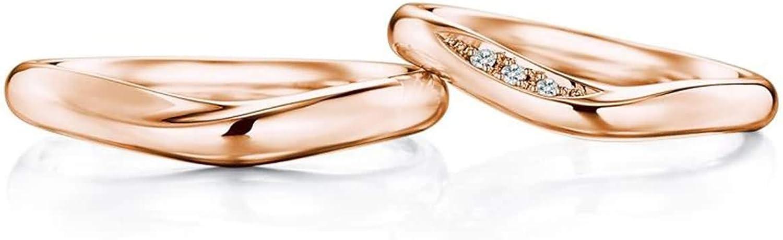 Epinki Anillo Or 18k Forma V Diamante 0.03ct Anillos Compromiso Hombre