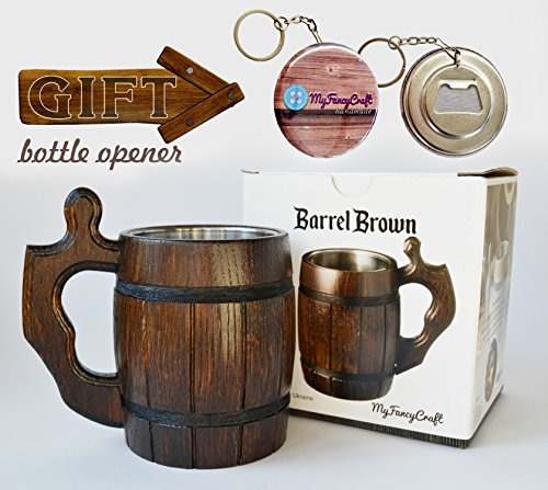 Handmade Beer Mug Set of 6 Wood Natural Stainless Steel Cup Men Gift Eco-Friendly Barrel Souvenir Round Brown by MyFancyCraft (Image #2)