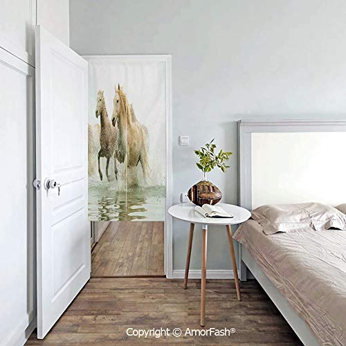 AmorFash Animal-Decor Japanese Noren Cotton Linen Doorway Curtain for Shop/bar,Camargue Horses in The Water Ancient Oldest Breed in Southern France Origin Artful Photo