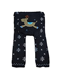 Dotty Fish Unisex Baby's Wooly leggings 12-24 months Navy Snowflake