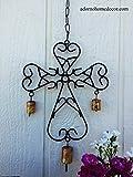 Metal Cross Wind Chime Recycled Metal Rustic Bells