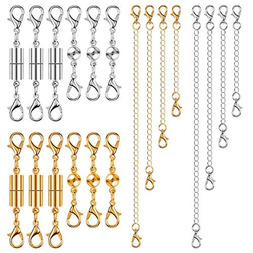 - Anezus 20Pcs Necklace Clasp Magnetic Jewelry Clasps with Jewelry Extenders for Necklace, Bracelet and Jewelry Making (Silver & Gold, Assorted Sizes)