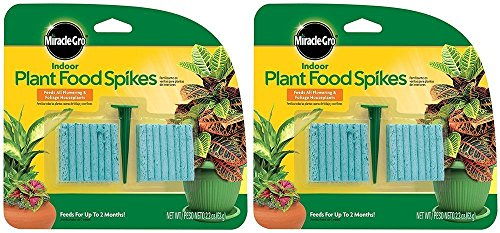 Miracle-Gro fertilizer spikes for beautiful houseplants, Houseplant Indoor Fertilizer Food Spikes, 2.2 - Ounce (2 Pack) (Spikes Fertilizer Plant)