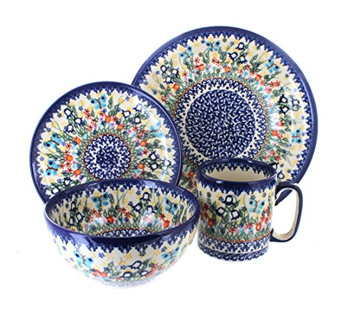 Polish Pottery Garden of Eden 4 Piece Dinner Set