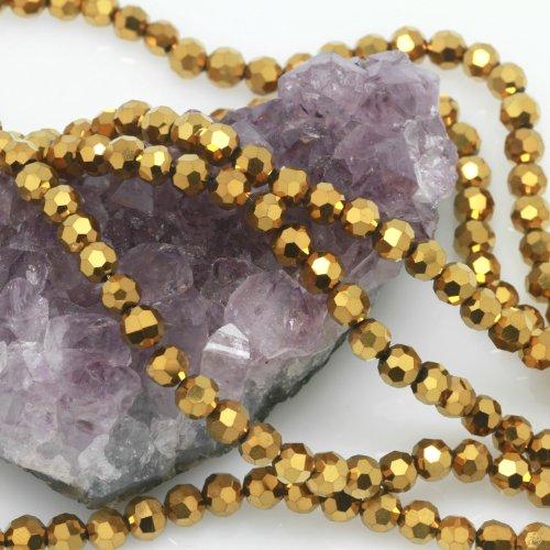 Beads Chinese Glass Round Crystal (100 Pcs Chinese Crystal Glass Loose Beads Faceted Round 6mm Loose Spacer Metallic Gold)