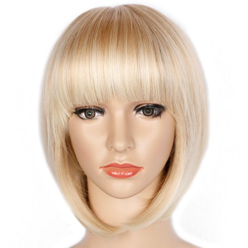 Light Blonde Straight Bob Hair Wig with Flat Bangs Synthetic Wig for Women Cosplay Daily Party Wigs Natural As Real Hair 12 inches Free Wig -