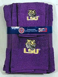Louisiana State University LSU Tigers 3 Piece Embroidered Bath Towel Gift  Set