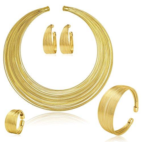 Moochi Gold Plated Multiple Strands Necklace Earrings Bracelet Ring Jewelry Set