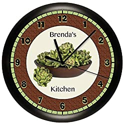 Susie85Electra Personalized Artichokes Kitchen Wood Wall Clock Modern Decorative Non Ticking for Living Room Kids Bedrooms 12 Inch
