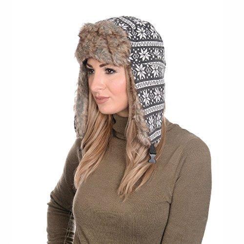 Martildo Unisex Faux Fur Trim Trapper Hat with Chin Strap, Grey Fair Isle