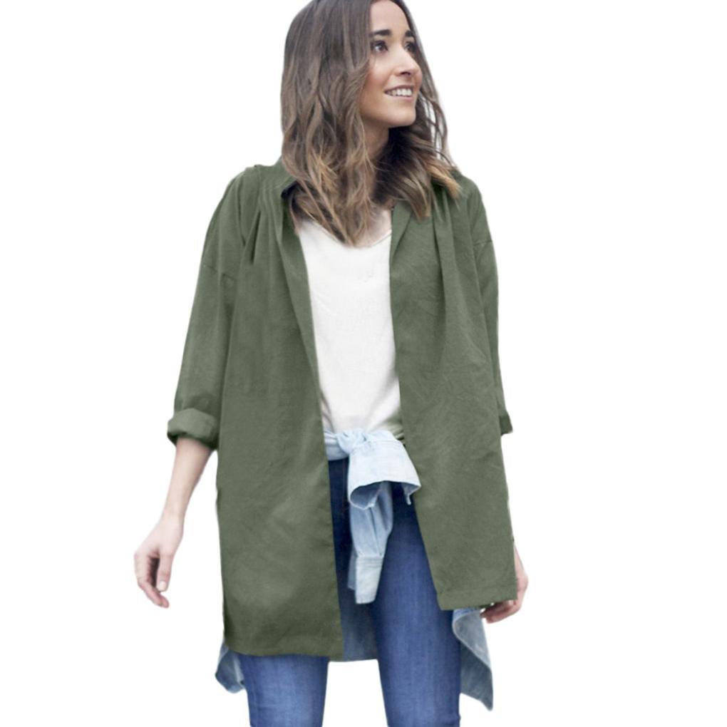 Tsmile Fashion Women Coat Autumn Winter Cardigan Jacket Thin Long Sleeve Windbreaker Parka Pockets Outwear (L, Army Green)