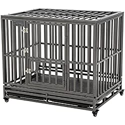 """SMONTER 42"""" Heavy Duty Strong Metal Dog Cage Pet Kennel Crate Playpen with Wheels,I Shape, Silver"""
