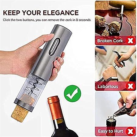 Abrebotellas de vino eléctrico Sacacorchos eléctrico automático de acero inoxidable con cortador de aluminio luz LED para el hogar Bodega Fiesta y como regalo funciona con pilas