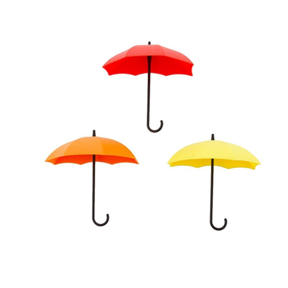 TXIN 3pcs-set colorful umbrella shaped wall hook storage key holder, key hanger, Wall key rack, jewelry, kitchen bathroom accessories and other small items (Pink, Red, Yellow)