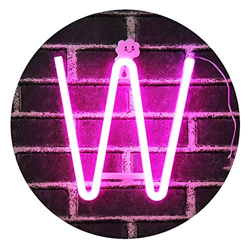 LED Neon Letter Light, USB Batteries Operated Marquee Letter Sign for Night Light Bright Lamp Words for Home, Hotel, Indoor Wall Decor-Pink Letter W ()
