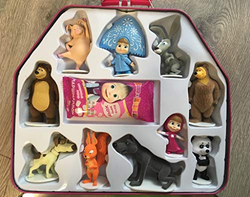 Masha and the Bear Iron Suitcase 10psc Mini Figures Toys + Marshmallow Party (4-6 inches) Favor Birthday Cupcake Toppers Cartoon Holiday Miniature, Surprise Baby Party Favor Figurine Birthday