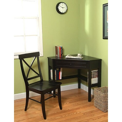 Corner Computer Desk with Crossback Chair 2 Piece Study Set Solid Wood and Wood Weneer Black Colour Office Furniture
