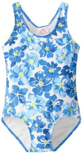 Kanu Surf Little Girls' Lei Racerback One Piece Swimsuit, Blue, 6