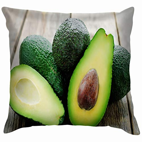 Avocado On Dark Wood Tinting Food and Drink Soft Cotton Linen Cushion Cover Pillowcases Throw Pillow Decor Pillow Case Home Decor 22X22 Inch ()