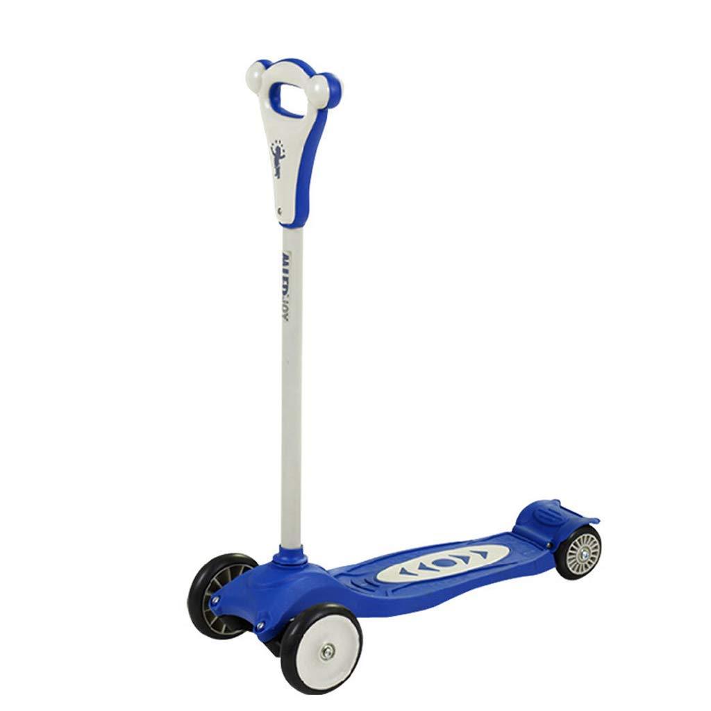 XUEYING-KickScooter Kinder 4-Rad-Riemenscheibe Riemenscheibe Auto Stable Scooter Einbein Scooter (Farbe   Rosa) Blau