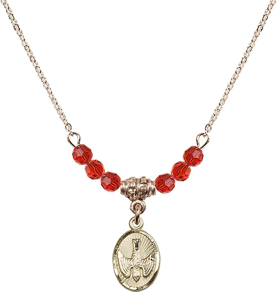 18-Inch Hamilton Gold Plated Necklace with 4mm Ruby Birthstone Beads and Gold Filled Holy Spirit Charm.