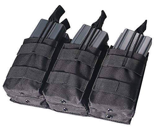 6 Mag Pouch - NordStone Triple Stacker M4 M16 Open Top Magazine Pouch with Bungee System (BLACK)