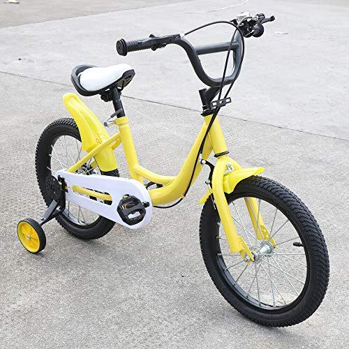 OUKANING 16 inch kinderfietsen met steunwielen, kinderfiets voor jongens en meisjes, geel