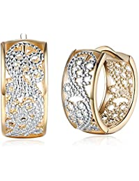 Dainty 14K Gold Silver Wide Filigree Hoop Earrings For Womens Girls Sensitive Ears Fashion Texture Huggie Hoops Hypoallergenic