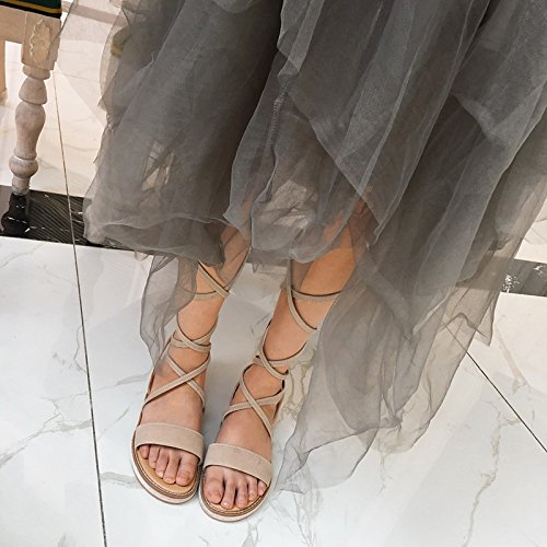 ZHZNVX exterior el de beige para Camel punta plano comodidad negro tacón Zapatos abierta de sandalias polipiel Camel mujer verano prOpq6