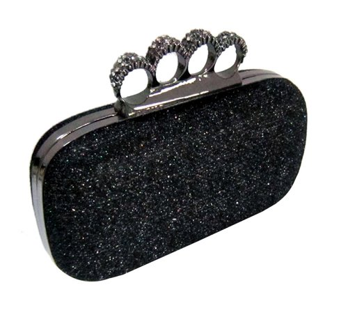 Black Glitter Metallic Duster Knuckle Clutch Evening Bag Purse with Rhinestones, Bags Central