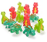 "Neliblu 12 Pack Squirting Bath Toys 3"" Rubber Dinosaur Squirts Baby and Children Bath Toys in Assorted Vivid Colors 1 Dozen"