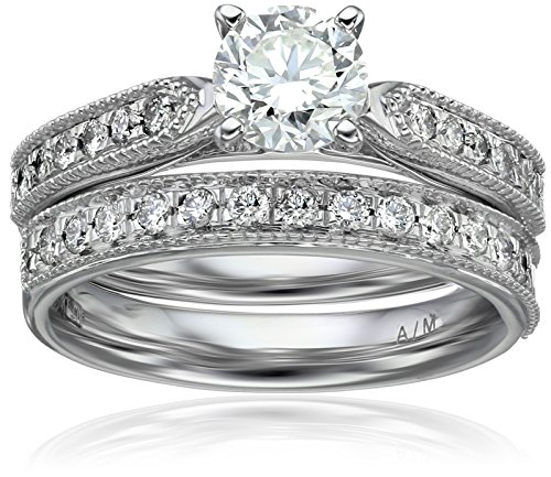 IGI Certified 18k White Gold Round Center Diamond Bridal Ring Set (1 1/7 cttw, H-I Color, SI1-SI2 Clarity), Size 6