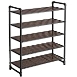 SONGMICS ULMR25BX ,5-Tier Shoe Rack , Open Storage Rack, Adjustable Shelves, Industrial Style Iron, for Shoes Plants Books Decorations, Matte Black