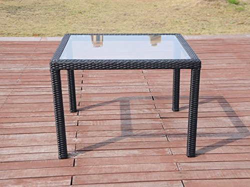 Patio Resin Outdoor Wicker Square 39.5 Inches Dining Table w/ Glass Top. Black (Resin Wicker Dining Table compare prices)
