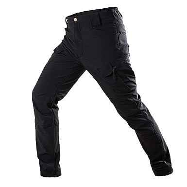 Libertepe Casual Pantalon Pantalon Cargo Coton Pant Respirant sans Ceinture  Style Militaire Sport Running Camping Noir c2be6d67d4e