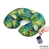 Travel Pillow,FOME Ultralight Portable U Shape Polyester Inflating Travel Camping Pillow Neck Pillow Support Head Neck for Airplanes Car with Pouch 14 x 12 x 4 inch