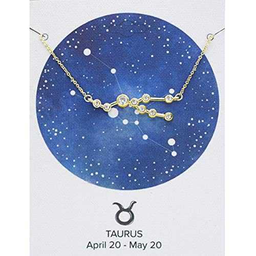 Sterling Forever Women's Zodiac Necklace - 'When Stars Align' Constellation Necklace, Gold Plated, Horoscope and Personalized Birthday Gift (Taurus (Apr 20 - May 20) with Premium Gift Carding)