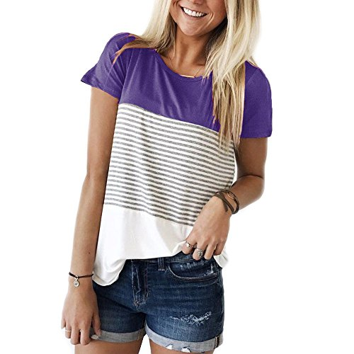(YunJey short sleeve round neck triple color block stripe T-shirt casual blouse Purple L)